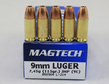 Magtech Pistolenpatrone 9mm Luger Vollmantel hollow point 7,45 Gramm